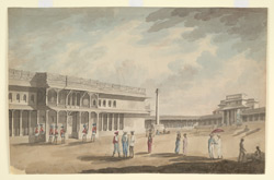 'Square at Bangalore' and on reverse:  'The Entrance of Tippoo's Palace, Bangalore Feby. 92'